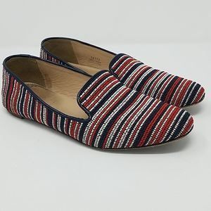 J. CREW Darby Bead Stitch Loafers 8M Blue Red
